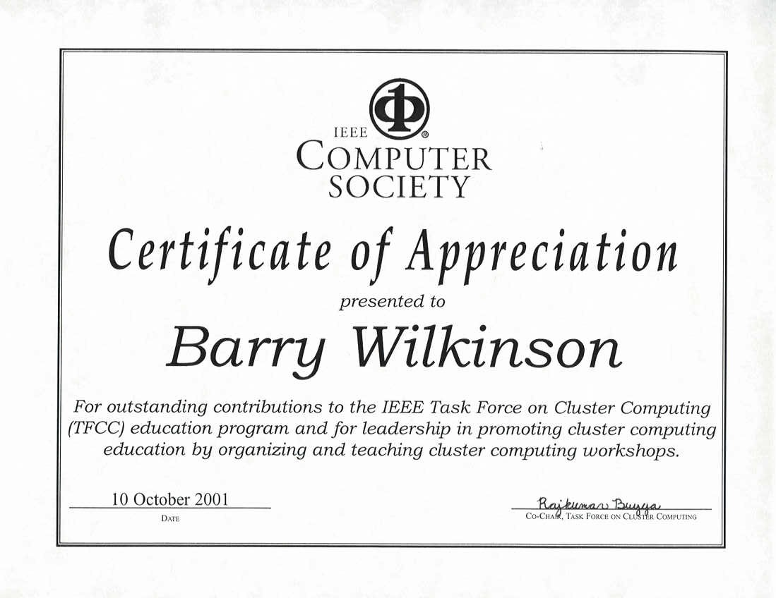 Ieee task force on cluster computing barry wilkinson for outstanding contributions to the ieee task force on cluster computing tfcc education program and for leadership in promoting cluster yelopaper Image collections